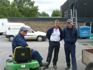 Stuart Chappell on the mini mower & Steve Connelly standing.  They were gardeners at Bretton for many years