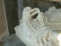 Carving of an Eagle at the Feet of Grace Wentworth.