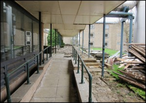 Walkway to Dining Hall. Boiler House on the left.
