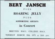 Ticket for concert in 1973 - image provided by Keith Davies