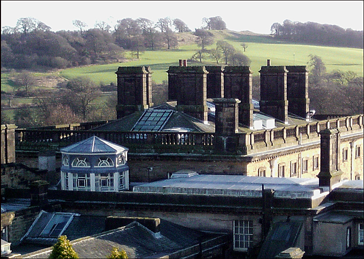 Rooftop view, showing the octagonal Lantern above Pillar Hall.