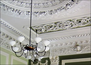 Ceiling in the former Dining Room of the Allendale family.