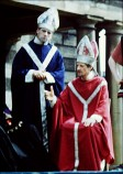 Bob Johnson (left) as High Priest Caiaphas in one of the Wakefield Mystery Plays.