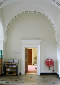 Entrance to the Back Stairway from Portico Hall.