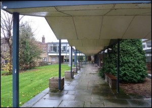 Walkway from the Art Studio (background) to the Dining Hall entrance (c. 2005)