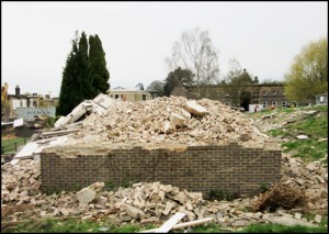 Rubble of the demolished Haigh Hostel