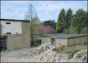 Completed demolition, with Student Centre in view