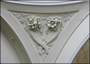 Cornucopias decorate a pendentive in Pillar Hall