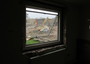 View of demolition site from inside King's Head