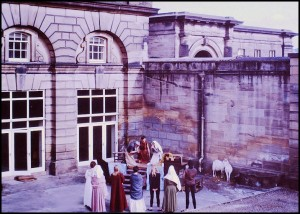 Performance outside the Experimental Theatre close to Stable Block
