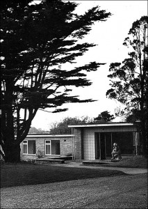 Newly-built Music School, with Sculpture by the entrance. -- 1952. (Image provided by Tony Crimlisk.)