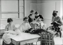 Assorted students making costumes