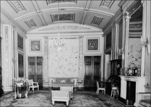 Music Room during the period when the mansion was owned by the Allendale family. After Bretton Hall was opened as a college for the Arts, this room was often used for performances. (Image from the Bretton Book.)