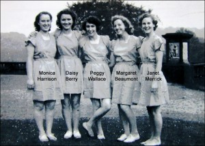 One of Miss Dunn's Movement/Dance groups preparing for a practice on the terrace lawn outside the Bow Room in 1950. Image provided by Leslie Burtenshaw.