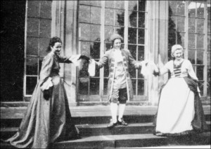 Mozart's 'Impresario' - performed in front of the Camellia House in 1954. Image from a Paul Mann publication.