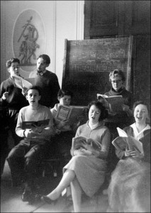 1957 Bretton choir in the college's first Music Room. (Image provided by Tony Crimlisk.)