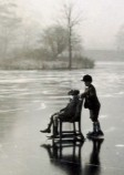 Richard and Nicholas Beaumont on the frozen lower lake - 1930s
