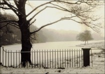 Upper lake covered in ice during the Winter of 1958
