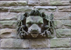 Lion's Head Carving on the former Student Centre.