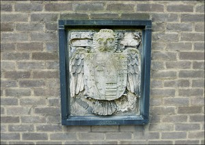 Carving on the North-facing wall of Savile Hostel