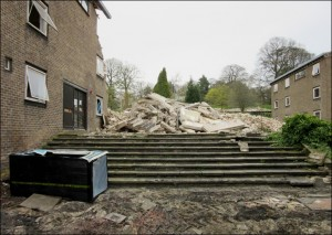 Rubble of the former King's Head Hostel with Dearne Hostel on the left.