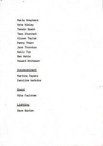 Programme for Year Three Dance Assignments 1982. Image supplied by Tamsin Spain.
