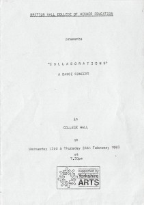 Programme for 'Collaborations' Dance Concert, February 1983. Image supplied by Tamsin Spain.