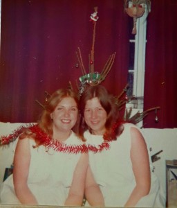 After 'Ceremony of Carols' 1978 at Judi Sims' house, Tithe Barn High Hoyland — with Christine Hoyle. Image supplied by Judi Sims.
