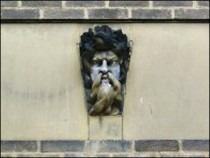 Groteque Head Above the Entrance to the Kings Head Hostel
