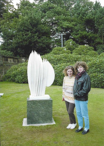 Margy Bolderson and myself by white sculpture in the grounds.